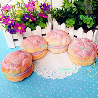Wholesale 20pcs New Scented Super Squishy Strawberry Cream Puff Squshy Charm Key Chain Toy For Girl Slow To Rise