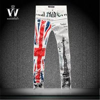america west shipping - Fashion Perfumes Original Printed Jeans America Flag Kanye West Skinny Jeans Famous Brand Jeans Men