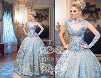 Cheap 2015 Evening Dresses Arabic Dubai Abaya Kaftan Ball Gown High Neck Cap Sleeves Lace Appliques Beading Prom Dress Zipper Back Floor Length