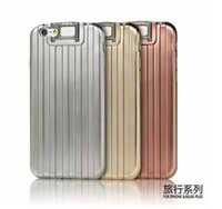 bar luggage - Luxury Luggage draw bar box with stand TPU Electroplated shinning case cover skin for iPhone S and Plus with packing