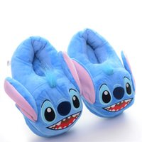 Wholesale Hot Sale Winter Warm Blue Stitch Plush Girls Cartoon Slippers Antiskid Shoes Inches LN