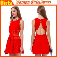 Wholesale 2015 Sleeveless Backless Dresses Knee Length Dresses Pleated Dresses Party Club Dress Red Dresses Fashion Sexy Dress for Women Girls hot