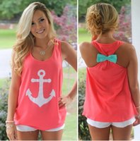 anchor blue clothing - womens tops fashion Neon anchor print sleeveless bow tank top Summer style tops tees cheap clothes Mother and daughter T Shirts Family
