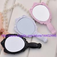 Wholesale 1000pcs Retro Vintage Style Plastic Black Rose Women Ladies Girl Make up Mirrors Cosmetic Hand Held Mirror