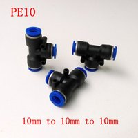 Wholesale 10pcs Pneumatic Air Fitting mm to mm to mm T Shape Quick Fitting Connector PE10