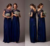 Cheap Navy Blue Sheer Bateau Cap Sleeves Lace Long Bridesmaid Dress 2015 Chiffon A-line Prom Evening Gowns Elegant Party Dress BO4880