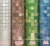 bathroom vinyl tiles - 2015 Kitchen wall sticker PVC mosaic tile wallpaper bathroom walls paper waterproof stickers wallpapers for kitchen home decor cm M roll