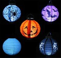 Décorations LED Halloween Pumpkins papier Lampe Lanterne Spiders Bats Motif Skull Décoration LED Lampes Lampes batterie Ballons pour les enfants