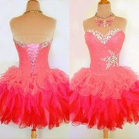 Cheap 2015 Lovely Homecoming Dresses Sweetheart Corset Back Ball Gowns Short Prom Dresses with Beads Ruffles Watermelon Mini Graduation Dress