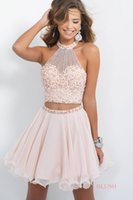antique prom dresses - 2015 Antique Two Piece Blush Homecoming Dresses Sheer High Neck Illusion Back Sleeveless A Line Dress Crystal Chiffon Prom Gown