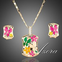 Wholesale 18K Real Gold Plated Multicolour Flower Clip Earrings and Pendant Necklace Jewelry Sets Azora TG0002