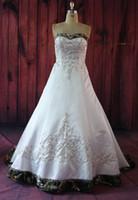 Wholesale A Line Sweetheart Crystal Beading Embroidery Button Decor Satin Camo Wedding Dress Bodice Wedding Gown Lace up Vestidos De Novia