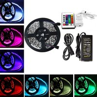 Wholesale 16 ft M High Bright nonWaterproof Leds SMD5050 RGB kit with DIY Led Strip Light key IR Remote Controller DC12V Power Adapter Supply