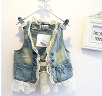 Wholesale Lowest Price Hot Sale pretty kids Tank Tops baby girl bow Lace embroidered denim vest waistcoat outwear blue denim Waistcoat pc