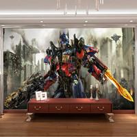 Wholesale Transformers Photo Wallpaper D Optimus Prime Wall Mural Boys Kids Bedroom Custom Movies Wallpaper Livingroom Large wall Art Room Decor Cool