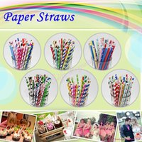 Wholesale 1000 assorted colored Weddings striped drinking Paper Straws