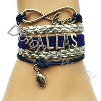 achat en gros de bracelet en cuir tressé argent-Bracelet gros-Bleu Marine Rope Argent cuir tressé Infinity Amour DALLAS Football Bangle- Drop Shipping personnalisé Équipe sportive Cadeau