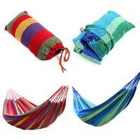 Cheap hot sale new fashion Portable Outdoor Garden Hammock Hang BED Travel Camping Swing Canvas Stripe E1Xc