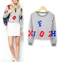 Cheap 2014 NEW Women's Trendy Crew Neck Multi Colored Letters Long sleeve Short Jumper Sweater Sweatshirt Tops Grey