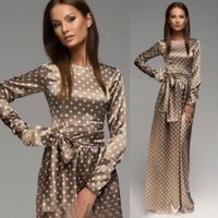 Wholesale Hot Sale Maxi Long Dress Long Sleeve Vintage Polka Dot Dress Elegant Long Evening Party Dress With Belt Vestidos D33671W