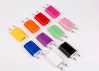 Wholesale 5V mah Colorful EU US Plug Mini USB Car Charger AC Power Adapter Wall Charger for iphone G S G S Galaxy S4 S5 S6 DHL