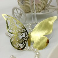 Wholesale Laser Cut seat table cards creative personality upscale butterfly wedding Party Decor Place Name Card Elegant Wine Glass Hanging