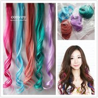 Wholesale Womens BB Clip in on Wig Hair Extensions Curly Wavy Wave Colorful Bright Hair Extensions Rainbow Wig Hairpiece cm inch Long FP15