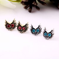 Wholesale Red Blue Color Personalized Accessories European Style Statement Vintage Owl Earring