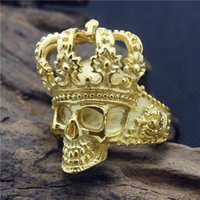 Wholesale Size New Design Stainless Steel Fashion Cool Golden King Poker face Skull Ring For Men