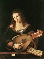 art lute - Handmade Art Oil Painting repro Bartolommeo Veneto Woman Playing a Lute