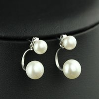 Wholesale Double Real Pearl Stud Earrings Good for Wedding Jewelry Party Gift For Ladies w Gift Box Freeshipping