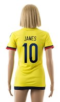 athletic sportswear - 15 new Colombia home yellow football jersey JAMES women s soccer shirt female athletic outdoor apparel girl s short sleeve sportswear