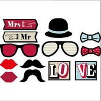 Wholesale 13 Piece Innovative Fun Wedding DIY Photo Booth Props Mustaches Red Lips Glasses On a Stick W367