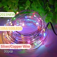 Wholesale 50pcs V M LED Lights Holiday Waterproof LED String Lights X mas Outdoor Decoration Fairy Light With Silver Copper Wire