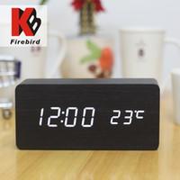 antique travel clock - High quality Digital Travel Clock with Calendar black wood white led electronic Luminous wake up alarm clock on table desktop