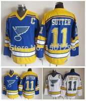baby hockey - 11 Brian Sutter Jersey St Louis Blues Throwback Ice Hockey Jerseys CCM Vintage Baby Blue White Brian Sutter Sticthed Jerseys