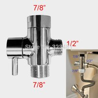 bidet toilet paper - 50PCS Brass quot T adapter filling Valve Chrome Plated Toilet Bidet shattaf Shower Shut off valve bathroom way Tee Connector