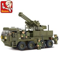 artillery army - Sluban M38 B0302 Building Block Set model D heavy transport truck army antiaircraft artillery Assembled playmobil toys