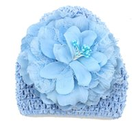 Wholesale New Baby Girl Peony Hat Toddler Infant Flower Hat Kids Children Soft Cute Knitted Hat Beanies Caps color Choose DHL Free