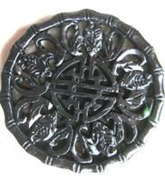 al por mayor colgante de murciélago negro-Chino Xinjiang negro antiguo jade tallado a mano cinco colgante de murciélago traer la suerte (Wu Fu Lin Men) joyería de moda negro y jade verde