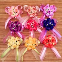Wholesale New Wedding Banquet Bridal bridesmaid wrist flower corsage flower Party Supplies Pearl ribbon bridesmaid hand flowers