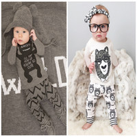 Wholesale 2 Design Baby Pajamas new children Autumn winter Cotton letter little monster cartoon Pyjamas long Sleeve Pants Sets sets