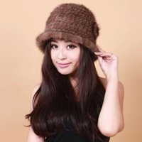 Wholesale New Arrivals Winter Women s Genuine Natural Knitted Mink Fur Visor Hats Lady Warm Caps Colors FH089