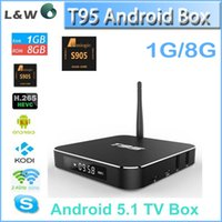 Wholesale Amlogic S905 T95 Android TV Box KODI XBMC installed Quad Core Smart TV Boxes Skybox WIFI Google Play K OTT TV Media Player