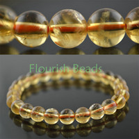 Other Crystal Bracelets High Quality 8mm Natural Citrine Yellow Crystal Quartz Stone Round Beads Bracelet Elastic line woman jewelry 5pc lot Free ship