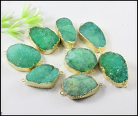 Wholesale 5pcs kt Gold plated Nature Druzy stone Connector in Green color Quartz Drusy gemstone Connector Pendant Beads Bracelet Jewelry Findings