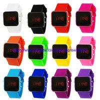 led watches - Hot Sales Women Ladies LED mirror Makeup watch plastic rubber jelly silicone digital date calendar unisex fashion sport watches