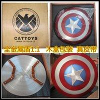 O Vingadores Full Metal 1:1 embalagem de madeira do Capitão América escudo alumínio diâmetro: 57 CM Cosplay brinquedos presentes DHL Gratis