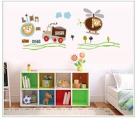 aircraft wall papers - 2015 New CARTON lion Aircraft car Wall Stickers Bedroom Children s Room wall decals Removable Wallpaper