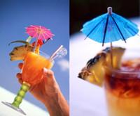 Wholesale Luau Party Umbrellas - 50 pcs lot Paper Cocktail Parasols Umbrellas drinks picks wedding Event & Party Supplies Holidays luau sticks #5135